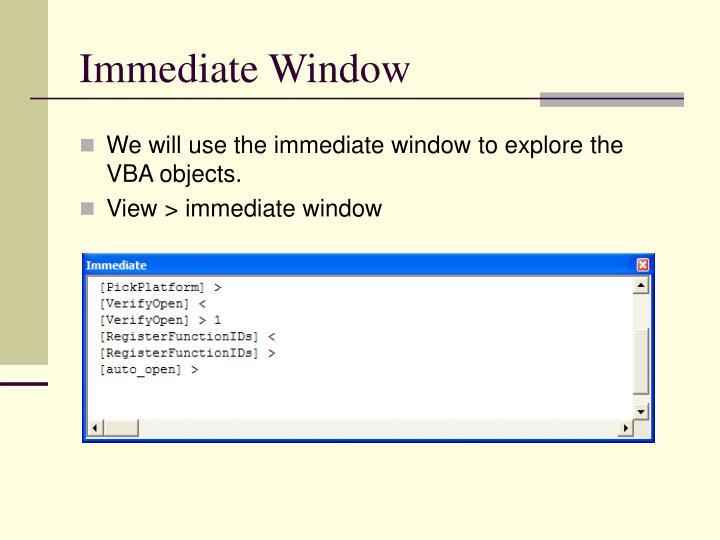 Immediate Window