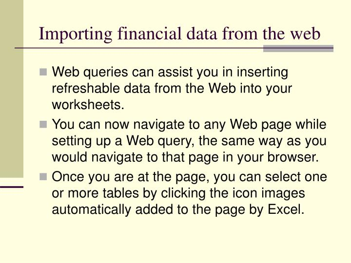 Importing financial data from the web