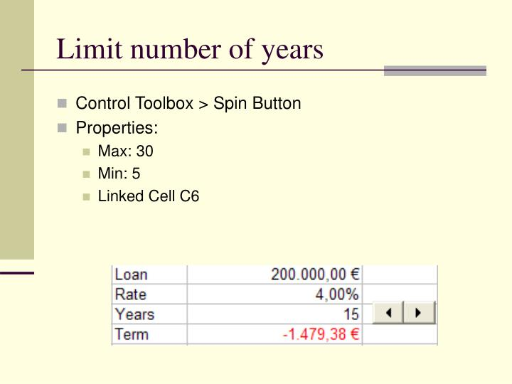 Limit number of years