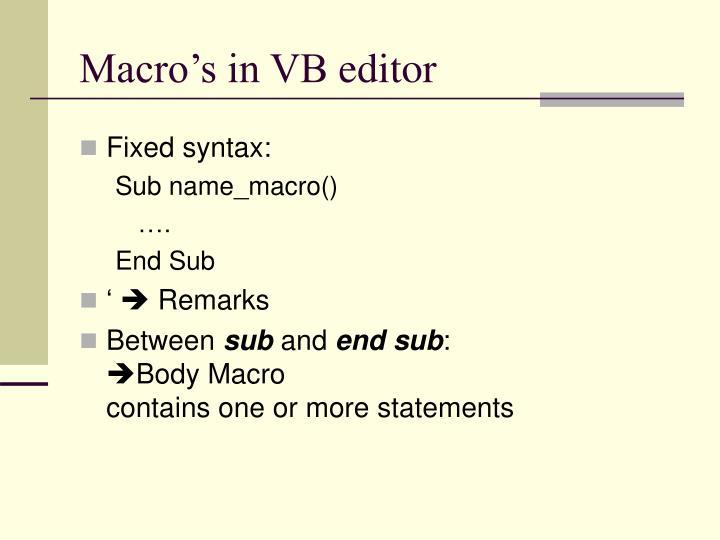 Macro's in VB