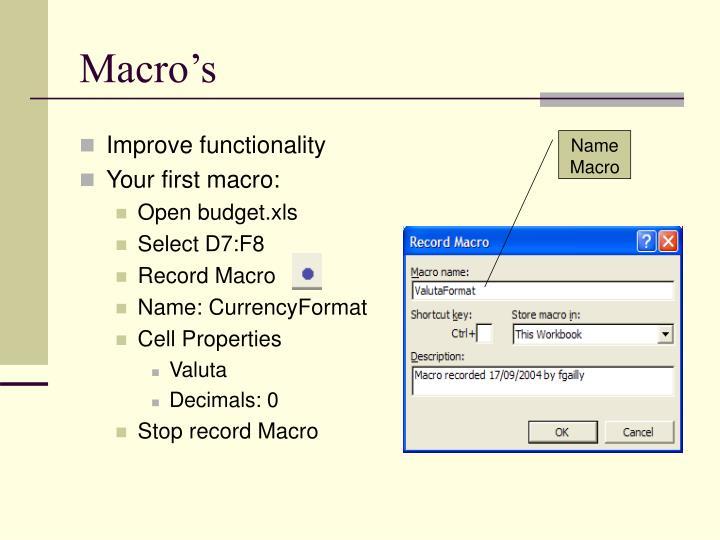 Macro's