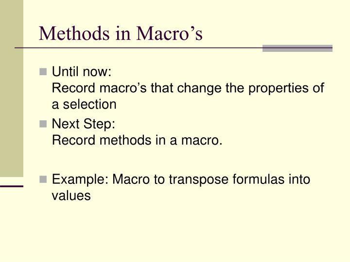 Methods in Macro's