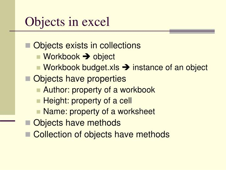 Objects in excel