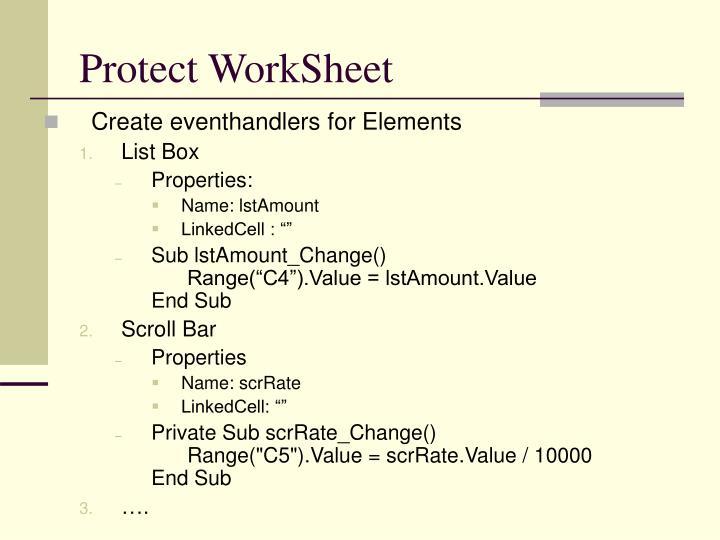 Protect WorkSheet