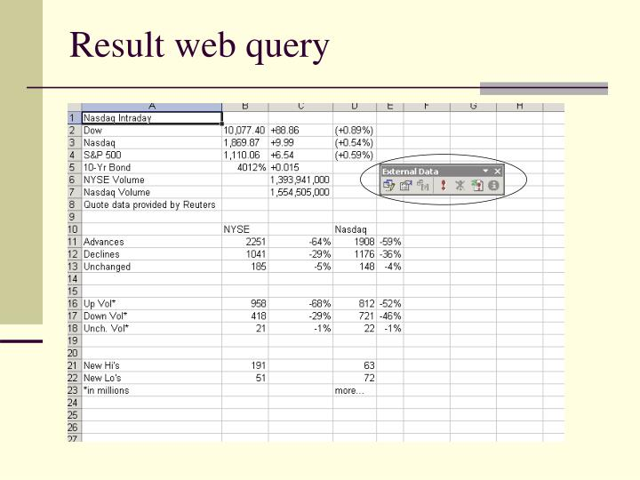 Result web query
