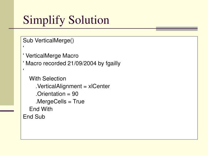 Simplify Solution