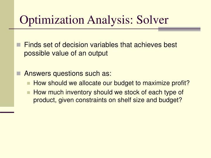 Optimization Analysis: Solver