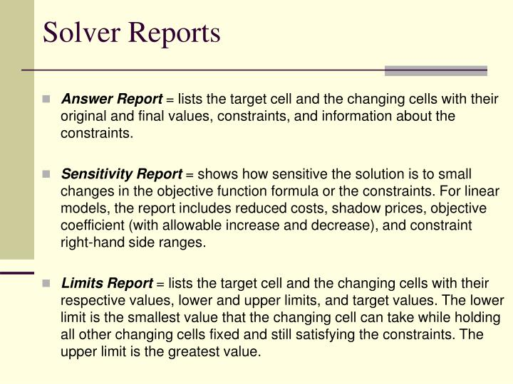 Solver Reports