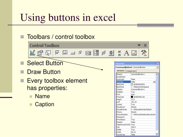 Using buttons in excel