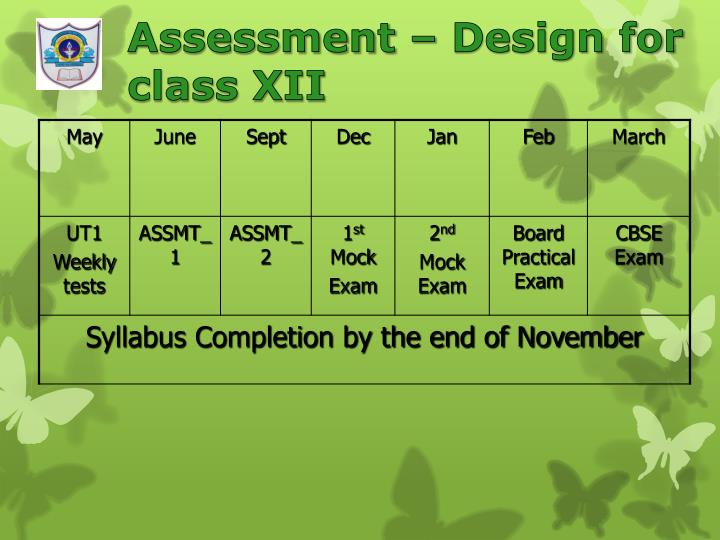 Assessment – Design for class XII