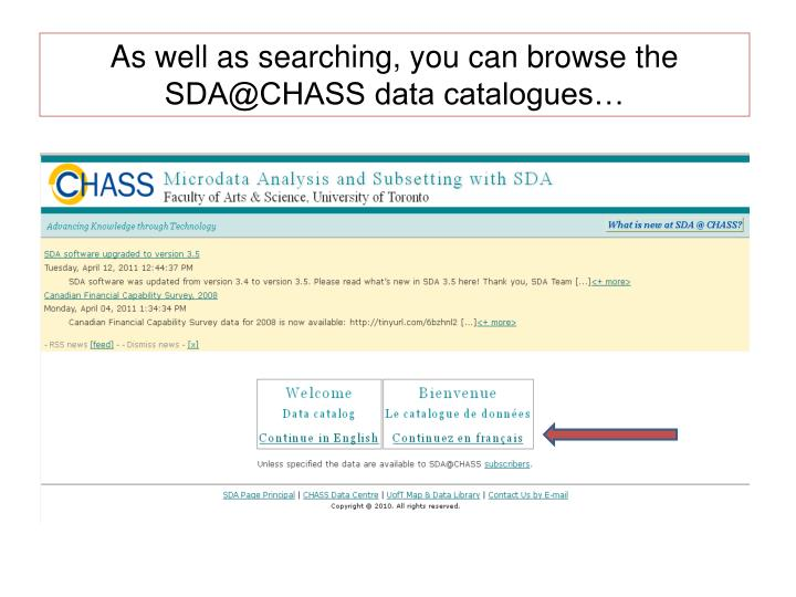 As well as searching, you can browse the SDA@CHASS data catalogues…