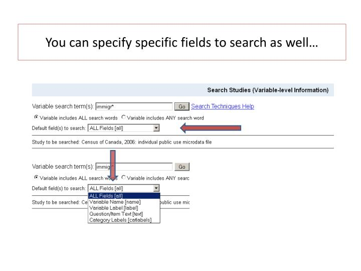 You can specify specific fields to search as well…