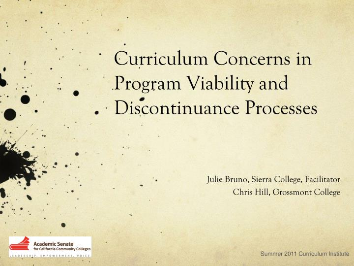 Curriculum concerns in program viability and discontinuance processes