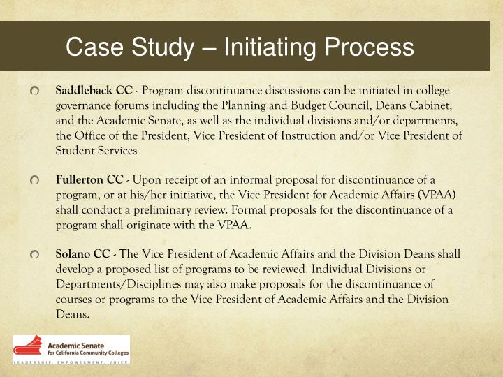 Case Study – Initiating Process