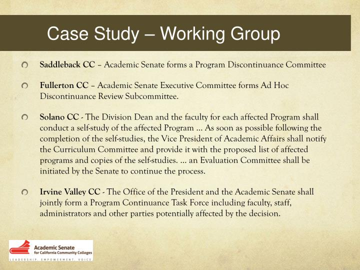 Case Study – Working Group
