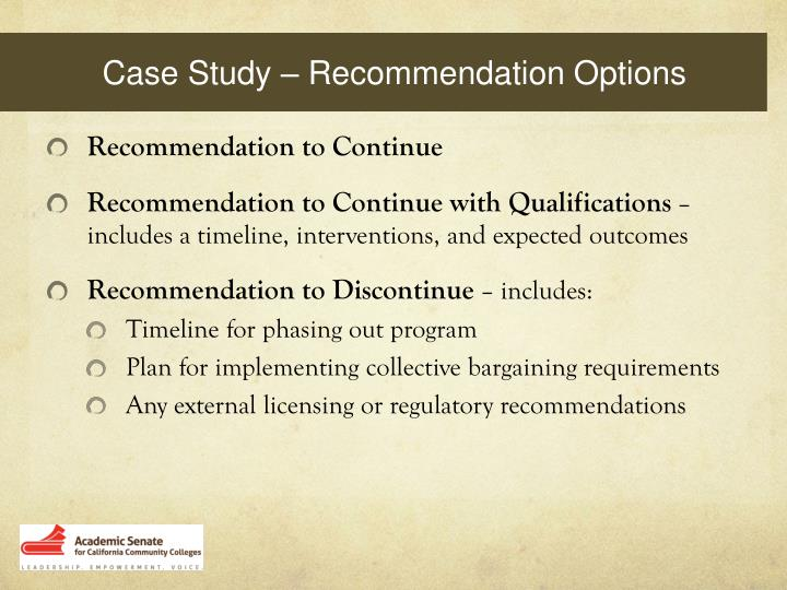 Case Study – Recommendation Options