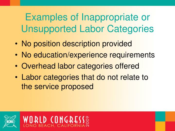 Examples of Inappropriate or Unsupported Labor Categories
