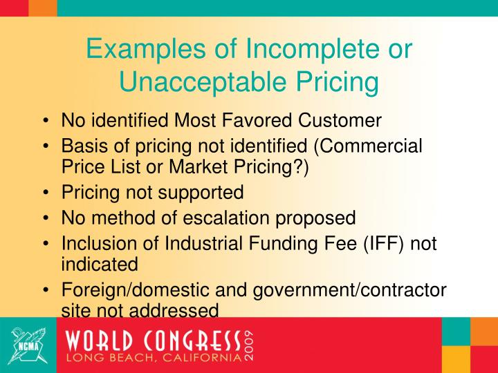 Examples of Incomplete or Unacceptable Pricing