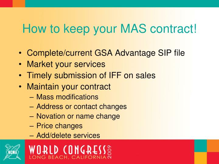 How to keep your MAS contract!