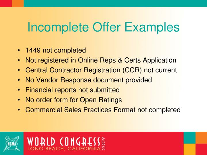 Incomplete Offer Examples