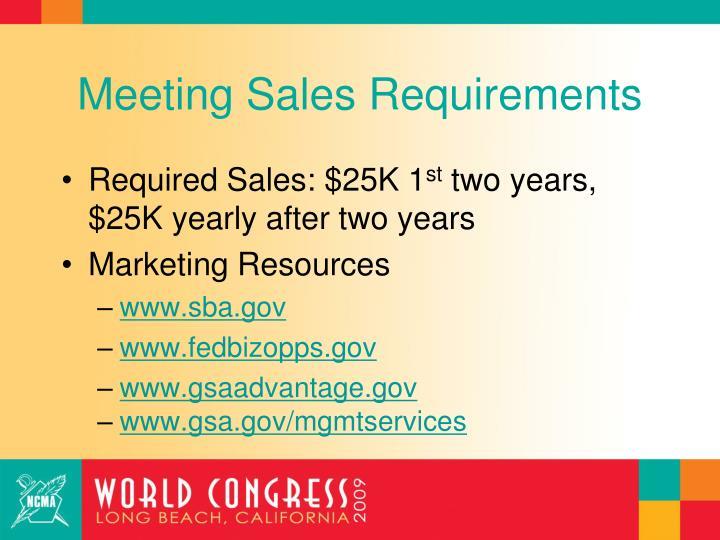 Meeting Sales Requirements