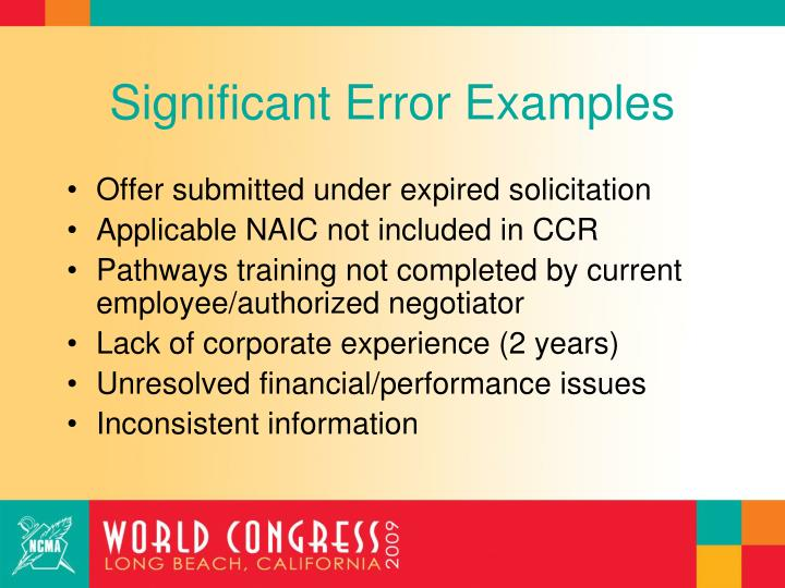 Significant Error Examples