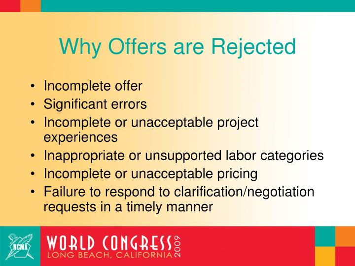 Why Offers are Rejected