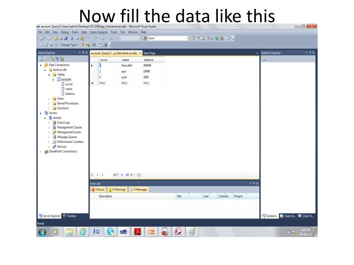Now fill the data like this