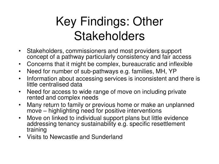 Key Findings: Other Stakeholders
