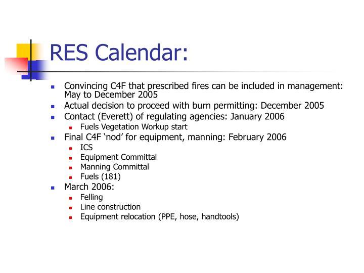 RES Calendar:
