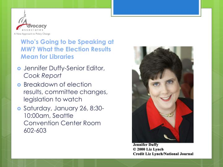 Who s going to be speaking at mw what the election results mean for libraries