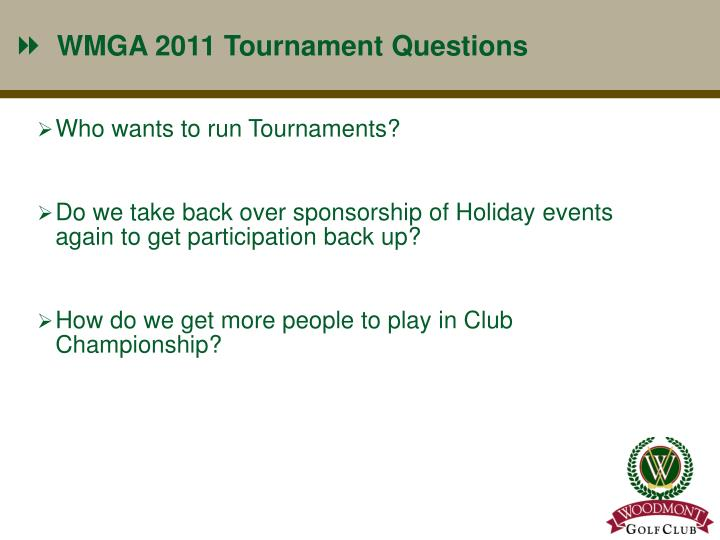 WMGA 2011 Tournament Questions