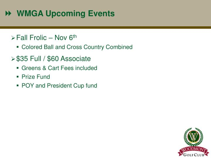 WMGA Upcoming Events