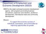 department of employment and economic development deed