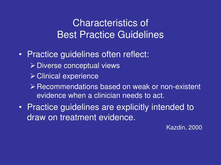 Characteristics of best practice guidelines1