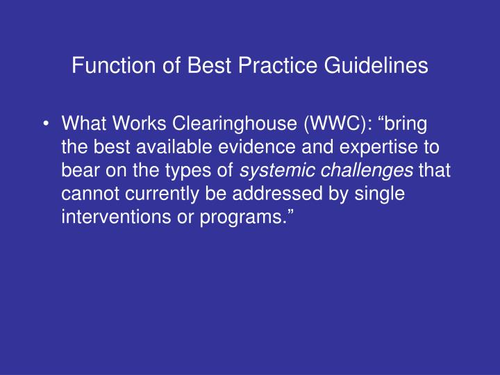 Function of Best Practice Guidelines