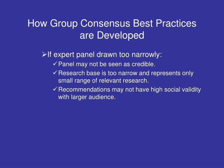How Group Consensus Best Practices are Developed