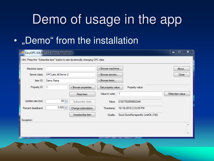 Demo of usage in the app
