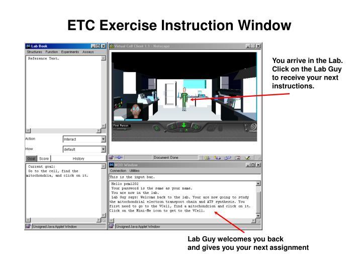 ETC Exercise Instruction Window