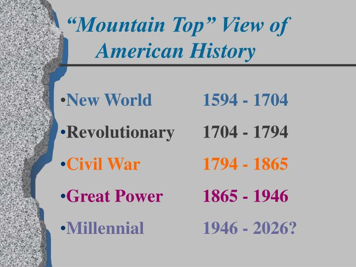 """""""Mountain Top"""" View of American History"""
