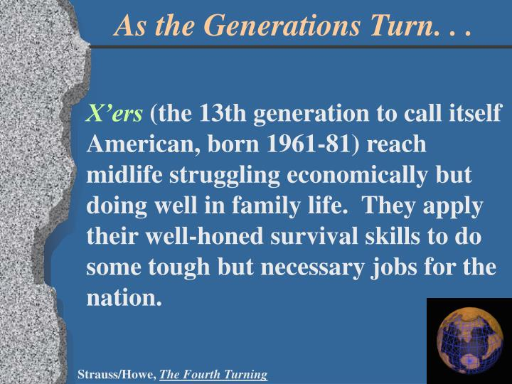 As the Generations Turn. . .