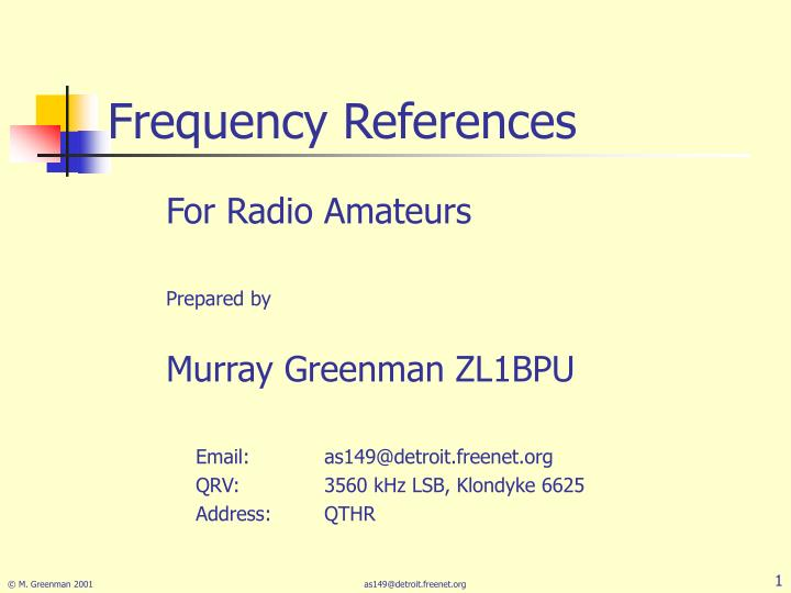 frequency references n.