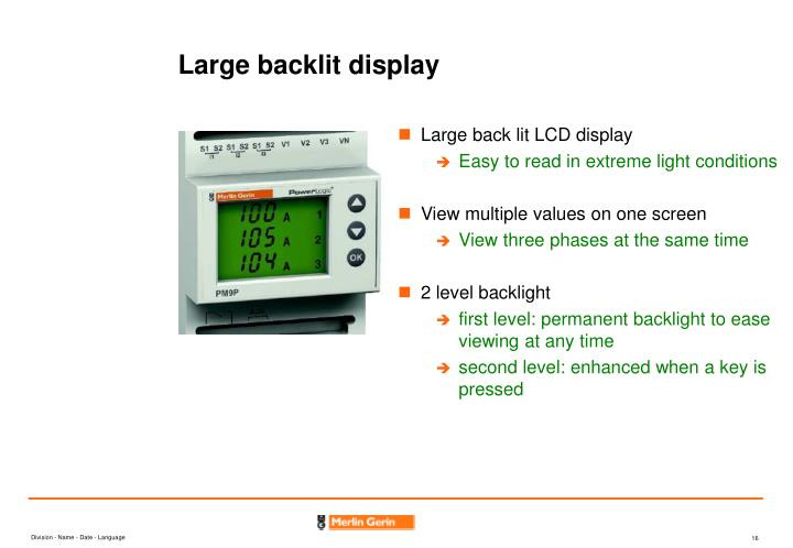 Large backlit display