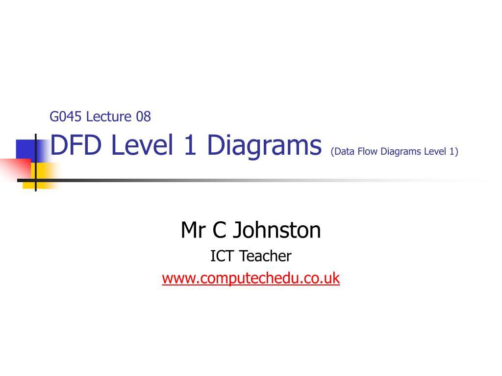 Data Flow Diagram Dfd Level 1 Schematic Diagrams Process Levels Ppt G045 Lecture 08 Business