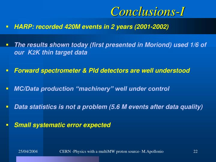 Conclusions-I