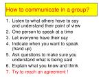 how to communicate in a group