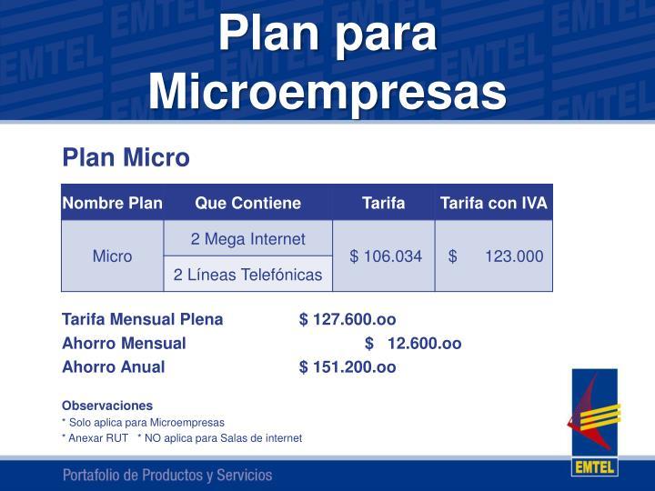 Plan para Microempresas