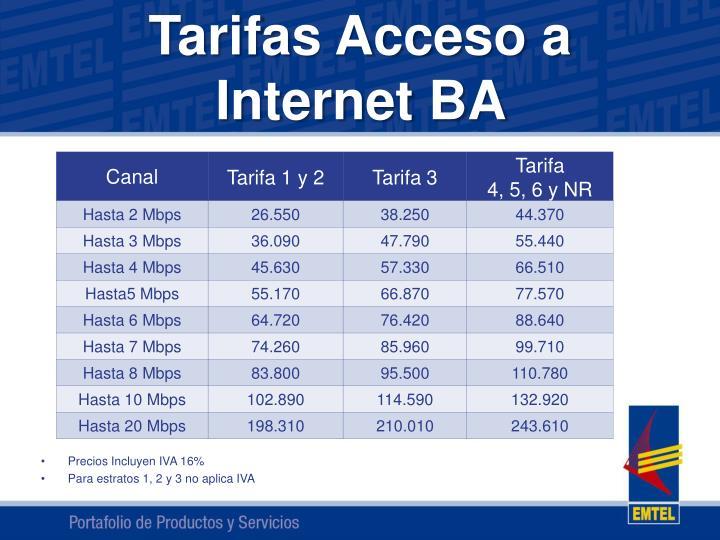 Tarifas acceso a internet ba