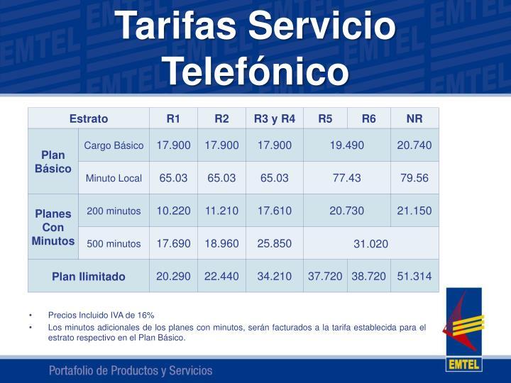 Tarifas servicio telef nico