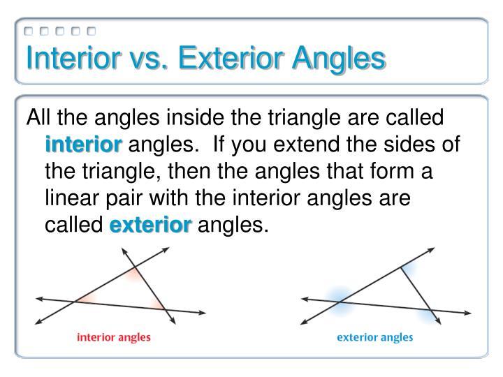 Interior vs. Exterior Angles
